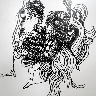 model with transpiring skull
