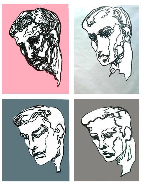 Reflecting Male Face Study Four Panels