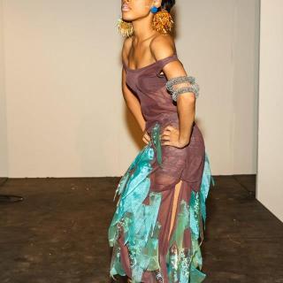 evening dress.bending f