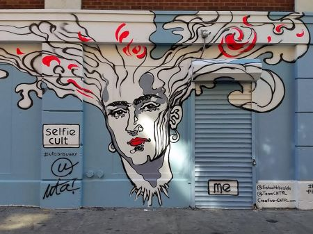 selfie cult panel, Frida spreading her thoughts, rivington street x bowery sept 2015