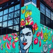 Frida spreading her flowers into the universe, with Holyrad studio, muralize me, Bushwick